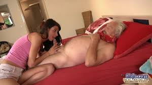 Young and old have passionate sex on the bed Shameless
