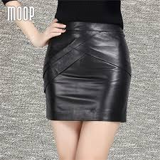 <b>New</b> spring black genuine <b>leather skirts sheepskin lambskin</b> women ...