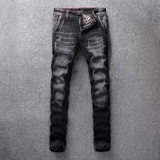 <b>Italian Vintage Style Fashion</b> Men Jeans Black Gray Slim Fit 98 ...
