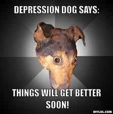 DIYLOL - depression dog says: things will get better soon! via Relatably.com