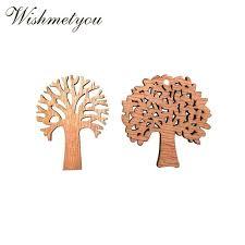 buy <b>WISHMETYOU 10Pcs</b> Natural <b>Wooden</b> Tree Embellishments ...