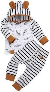 Newborn Infant Baby Girls Boys Hoodie Set Feather ... - Amazon.com