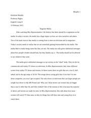 informative essayoutline on reality tv   katelynn murphy topic   pages english comp essay on the documentary miss representation