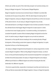 calam eacute o essay on illegal immigrants the causes of illegal migration