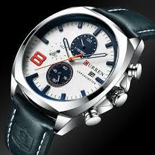 Luxury <b>Mens</b> Date Chronograph Leather Band Military Army Quartz ...