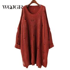 <b>2019 WQJGR</b> Bat Sleeve Smock Easy Long Fund Holes Knitting ...