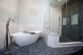 bathroom shower tile design color combinations: author incredible bathtub shower designs with river stone flooring and tiles combined glass shower enclosure also white spoon tub featuring chrome furnishing set ideas coastal shower curtains bathroom sterli