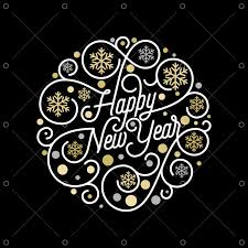 Happy New Year calligraphy lettering and <b>golden snowflake</b> pattern ...