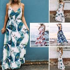 Summer <b>Women's</b> Fashion <b>Sexy V</b>-<b>Neck Sling</b> Beach Casual Floral ...