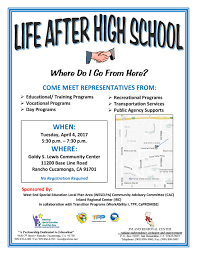 life after high school inland regional center life after high school flyer 2017