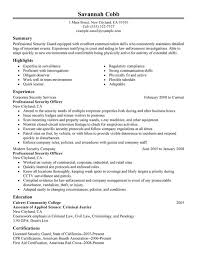 professional security officer resume sample security guard sample resume