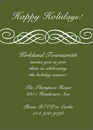 beautiful corporate holiday party invitation e card design sample general invitation simple holiday party invitation card design green background and white font color