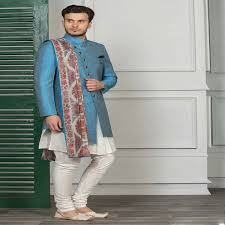 Blue <b>solid double layer</b> indo western for party function - G3 ...