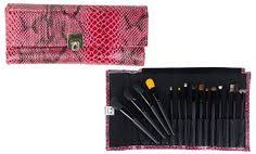 groupon beaute basics 15 piece pro makeup brush set with faux reptile case in