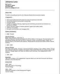 daycare worker resume objectivedaycare worker resume template   social work cv samples