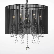 crystal 6 light plug in chandelier with large black shade black crystal chandelier lighting