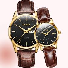 Fashion Couple Watches Brown <b>Leather Business Men</b> Watch ...