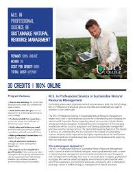 online master s in sustainable natural resource management master s in professional science sustainable natural resource management brochure