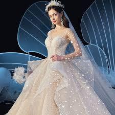 Stunning See-through Ivory Star Wedding Dresses <b>2019</b> Ball Gown ...