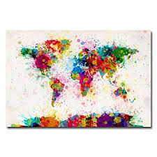 Paint Splashes <b>World Map</b> by Michael Tompsett, 30x47-Inch <b>Canvas</b> ...