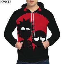 <b>KYKU Rick And Morty</b> Hoodies Black Clothing Sweat shirt ...
