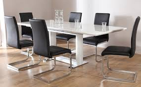 black and white dining table set: tokyo white high gloss extending dining table and  chairs set perth black