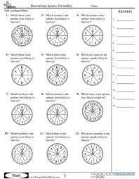 Probability WorksheetsDetermining Spinner Probability worksheet ...