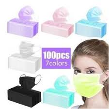 100Pcs Disposable White/Black/Blue/Pink Face Mask 3 Layer ... - Vova