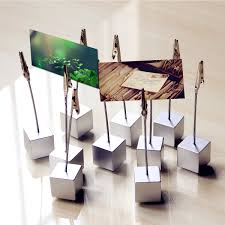 10pcs cube base memo photo holder creative message photo clip stand memo clip note paper card base group creative office