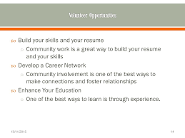 welcome  march             explore your personal    build your skills and your resume o community work is a great way to build