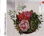 Вышивка крестом скатерти с розами