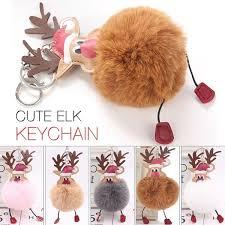 Cute <b>Christmas</b> Delicate <b>Hair Ball</b> Key Buckle <b>Xmas</b> Keychain ...