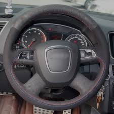 Black Natural Leather Black Suede Car Steering Wheel Cover for ...