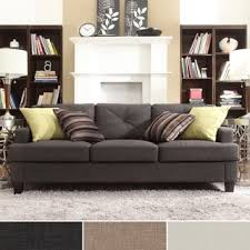 couch bedroom sofa: elston linen tufted sloped track sofa by mid century living