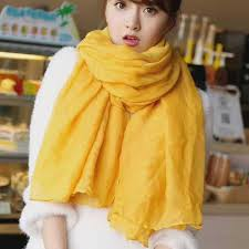 <b>Fashion 18 Colors</b> Autumn Winter Yellow Cotton Scarf Women ...