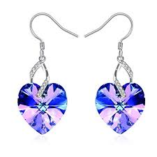 J.Rosée Heart Earrings with 925 Sterling Silver and ... - Amazon.com