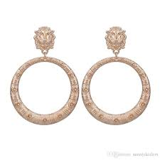 <b>Sehuoran</b> Big Round Zinc Alloy Pendients Pattern <b>Drop Earrings</b>