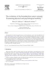 research paper the evolution of the boundaryless career concept research paper the evolution of the boundaryless career concept examining physical and psychological mobility