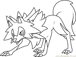 Small Picture Lycanroc Midday Form Pokemon Sun and Moon Coloring Page Free