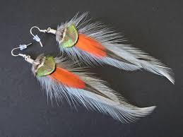 Boucles d'oreilles plumes de coq, de paon et de faisan / Rooster ...