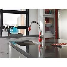 pull kitchen faucet color: delta fuse single handle pull down sprayer kitchen faucet with magnatite docking in stainless chili pepper  sr dst the home depot