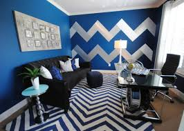 blue home office with striped walls blue home office ideas home office