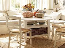 dull white corner breakfast nook furniture with pumpkins and rattan basket and dining chairs on cream breakfast area furniture