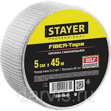 <b>Серпянка самоклеящаяся</b> FIBER-Tape, 5 см х 45 м, <b>STAYER</b> ...