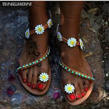 <b>TINGHON Summer Women Shoes Sandals</b> Flower White Daisy Blue ...