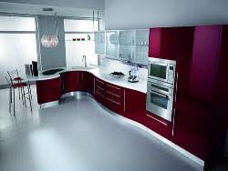 modular kitchen colors: modular kitchen design with red color combo