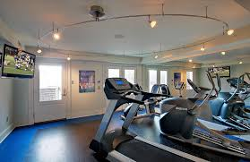 circular track lighting home gym contemporary with black floor blue floor basement track lighting