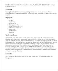 Professional Tanning Consultant Templates to Showcase Your Talent     Resume Templates  Tanning Consultant