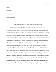 tragic heroes in brave new world  king lear and the crucible    tragic heroes in brave new world  king lear and the crucible essay example
