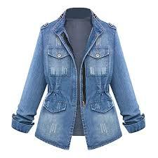 HOSOME <b>Women Jeans Chain</b> Jacket Plus Size Casual Ladies ...